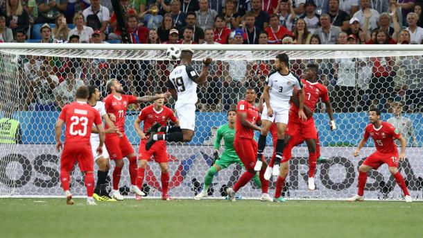 Kendall Waston rose highest to bring Costa Rica back into the game | Source: Getty Images via FIFA.com