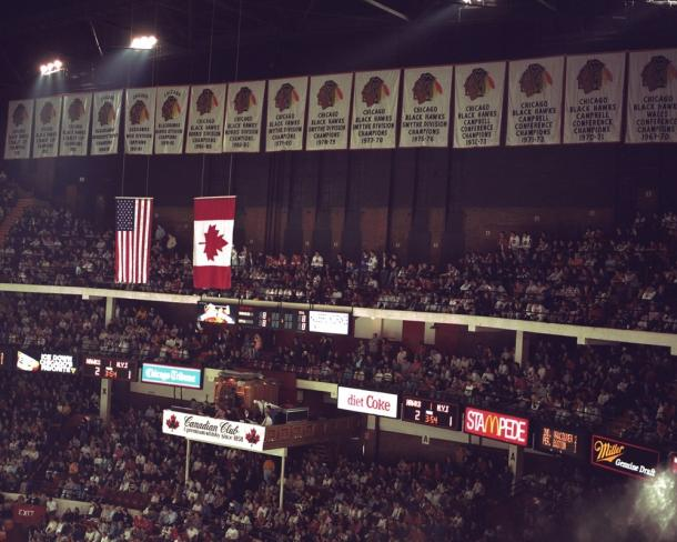 The many championship banners lined the Old Chicago Stadium. (Photo: Bob Horsch Gallery)
