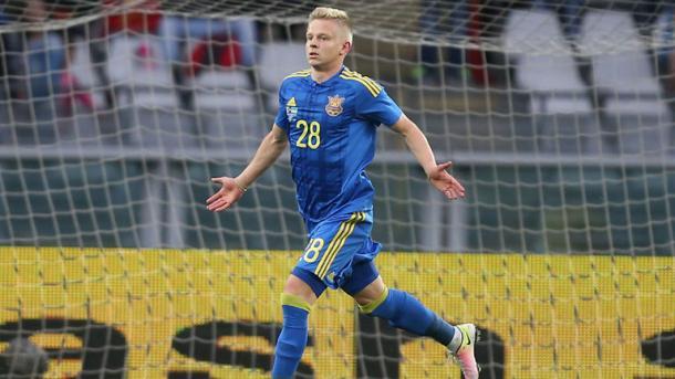 Oleksandr celebrando su primer gol con Ucrania. Foto: Federación de Ucrania