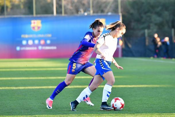 Melanie Serrano en el encuentro ante el Zaragoza en la Ciudad Deportiva | Foto: Weberth de Souza, VAVEL