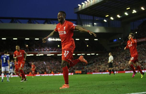 Origi celebrates scoring against Everton (photo: Reuters)
