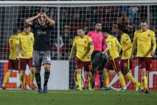 The Saints could not get the three points they craved last night, losing 1-0 in Prague. Photo: Getty.