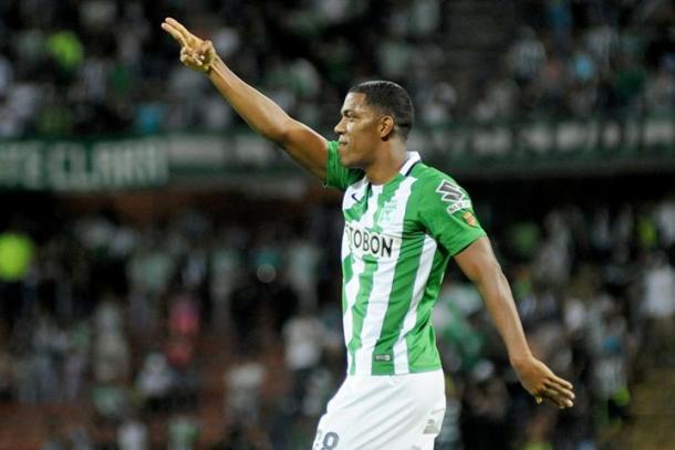 Orlando Berrío autor del gol que depositó a Nacional en semifinales.   Foto: Colprensa