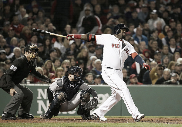 David Ortiz launches a home run in the seventh inning. (Source: Jim Rogash/Getty Images North America)