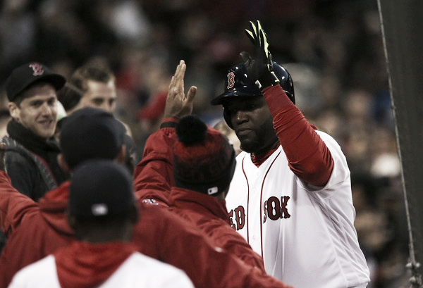 David Ortiz celebrates his home run with the Red Sox dugout in the first inning. (Source: Adam Glanzman/Getty Images North America)