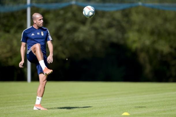 Ortuño durante una sesión de entrenamiento | Fuente: Real Oviedo