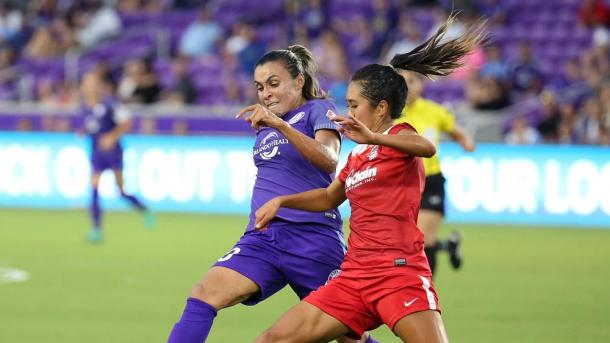 Despite Marta's best efforts, the score remained deadlocked at the half | Source: Stephen M. Dowell-Orlando Sentinel