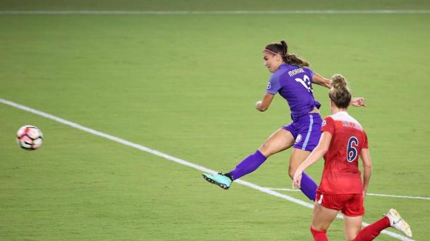 Alex Morgan thumps in Orlando's third of the game | Source: Stephen M. Dowell-Orlando Sentinel