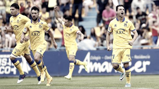 El Alcorcón celebra un gol. Foto: La Liga