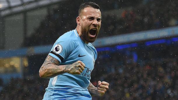 Otamendi celebra un gol con el Manchester City   Fotografía: Premier League