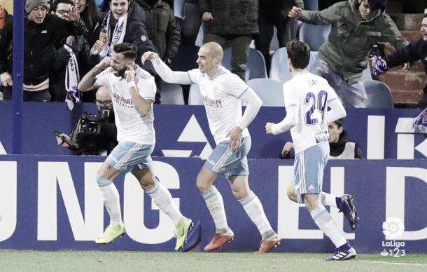 Celebración del 2-0 ante el Oviedo | Foto: LaLiga