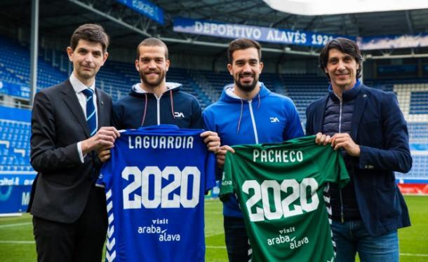 Pacheco y Laguardia, cuando se anunciaron sus renovaciones. / Foto: Deportivo Alavés