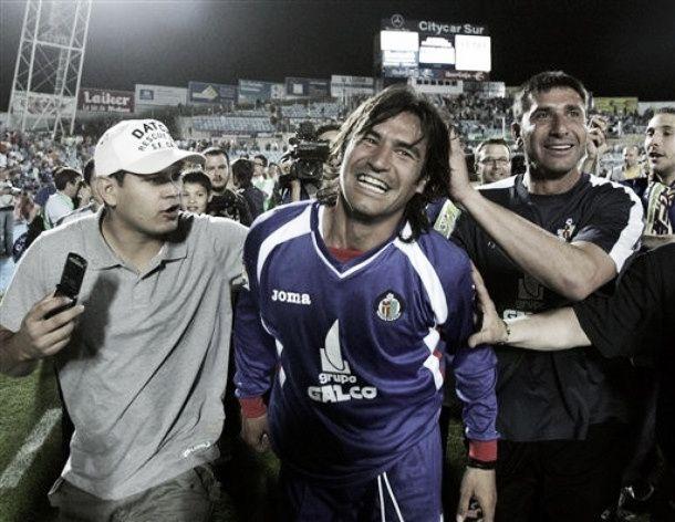 Sergio Pachón fue el héroe del ascenso del Getafe, marcando los cinco goles que les daba el ascenso a primera | Fuente: Getafe CF