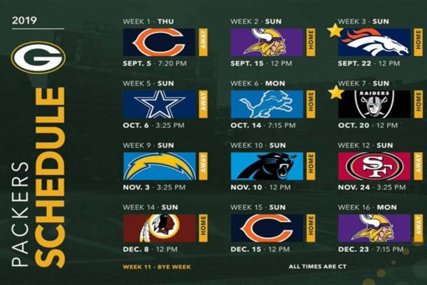 Calendario temporada regular de Green Bay (Foto: www.packers.com))