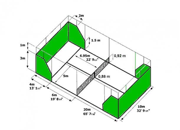 Medidas da quadra. (Foto: Paddle.com)