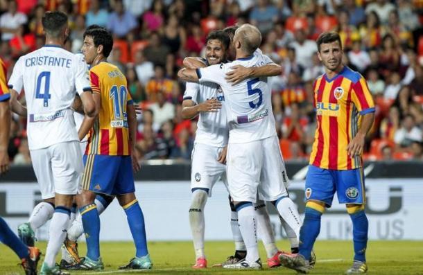 Palomino festeggia il goal vittoria | www.ecodibergamo.it