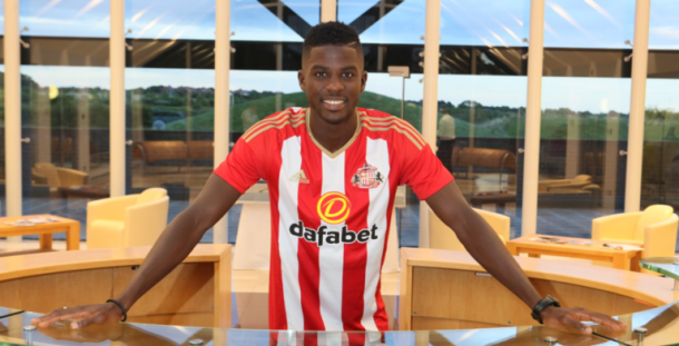 Papy Djilobodji been unveiled as a Sunderland player. | Photo: Sunderland AFC via Getty Images