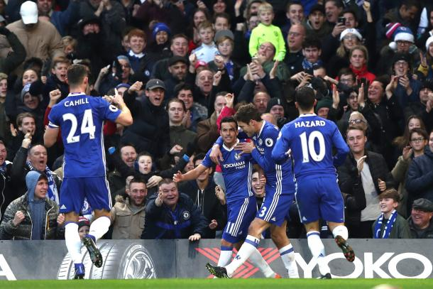 Pedro celebrates opening the scoring for Chelsea. (Source: @ChelseaFC)