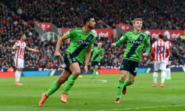 Graziano Pelle (left) celebrating after scoring against Stoke | Photo Sourced: Talksport