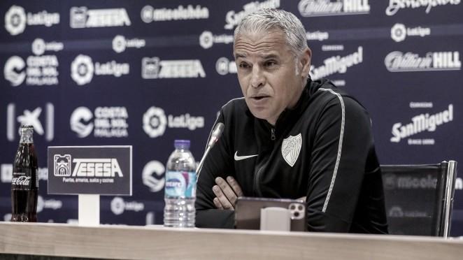 Sergio Pellicer en rueda de prensa. / Foto: Málaga CF.