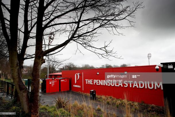 SALFORD, ENGLAND -MARCH 18: (EDITORS NOTE: A graduated grey filter has been used to take this image) A general view of Salford City's Peninsula stadium, home of Salford City at Moor Lane on March 18, 2020 in Salford, England. (Photo by Clive Brunskill/Getty Images)
