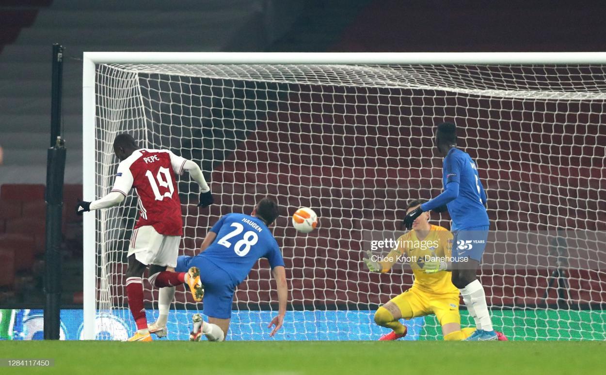 Nicolas Pepe scores against Molde on Thursday (Photo by Chloe Knott via Getty Images)