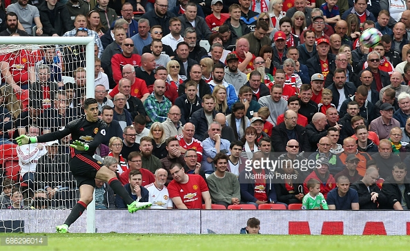 MANCHESTER, ENGLAND - MAY 21: Joel Pereira of Manchester United in action during the Premier League match between Manchester United and Crystal Palace at Old Trafford on May 21, 2017 in Manchester, England. (Photo by Matthew Peters/Man Utd via Getty Images)