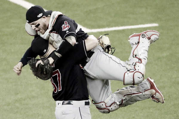 Roberto Perez leaps into Cody Allen's arms after winning the ALCS. (Photo: Elsa/Getty Images)