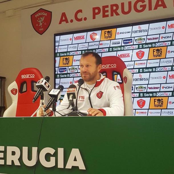 El entrenador del Perugia Roberto Breda en la rueda de prensa previa | Foto: AC Perugia