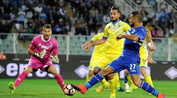 Fabio Quagliarella in azione nel match d'andata - Foto Getty Images