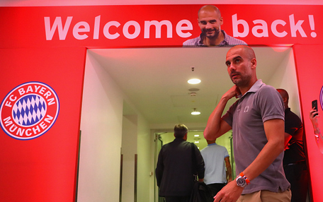 Pep back at the Allianz, sooner than he expected. | Picture: Getty