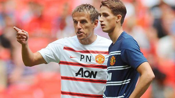 Phil Neville during his time on Manchester United's coaching staff | Source: thefa.com