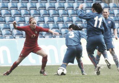 Ana Cristina Leite in action with the Portugal National Team. (Photo: futebolfemininoportugal.com)