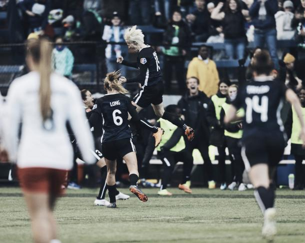 Rapinoe celebrating with teammates | Photo: NWSL Twitter