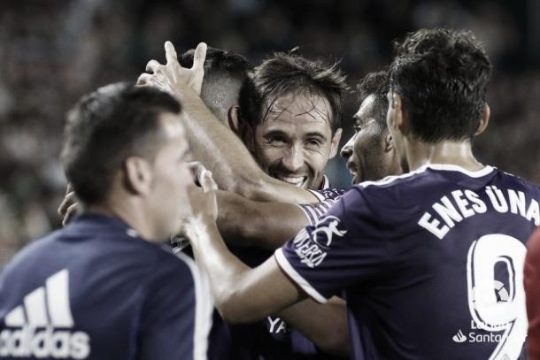 El Valladolid celebrando su segundo gol / Foto: LaLiga Santander