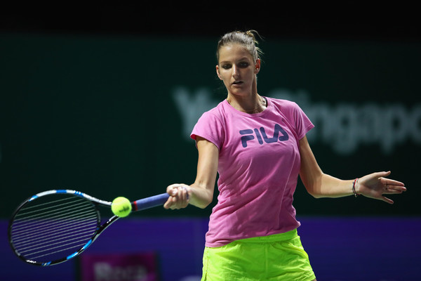 Pliskova during a practice session in Singapore (Photo by Clive Brunskill / Getty Images)