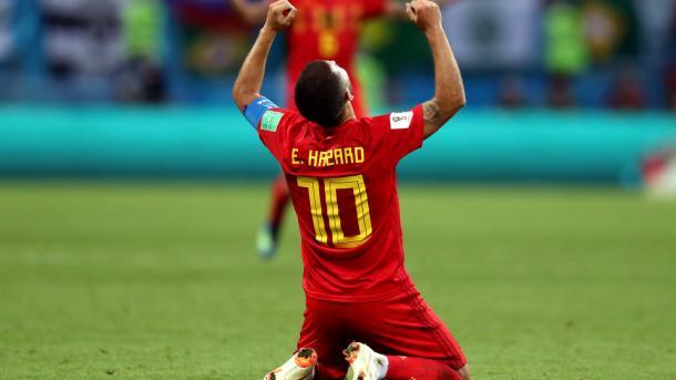 Hazard celebra el pase a semifinales. Foto: FIFA