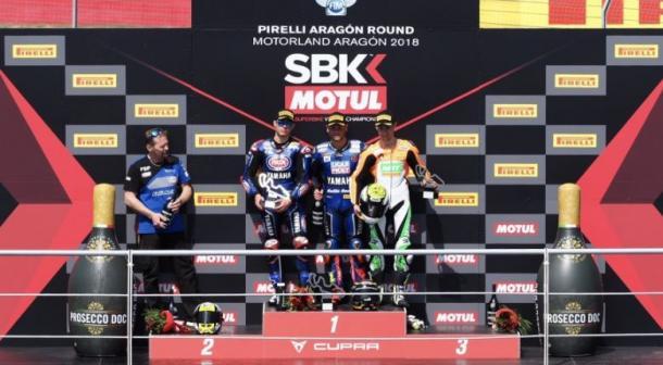 Sandro Cortese subió al primer cajón del podio en Aragón.   Foto: WorldSBK