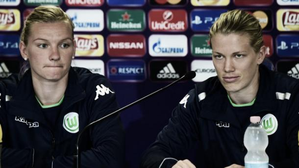 Popp and Dickenmann talk to the media. | Image source: UEFA