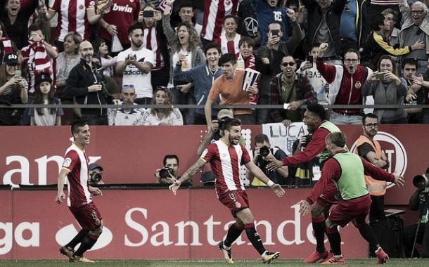 Portu, la gran amenaza del Girona, celebrando su gol ante el Real Madrid la pasada temporada. // Foto: petr.pavel