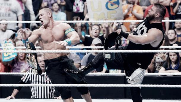 Owens took Cena out with a post-match attack. Photo- www.todaysknockout.com