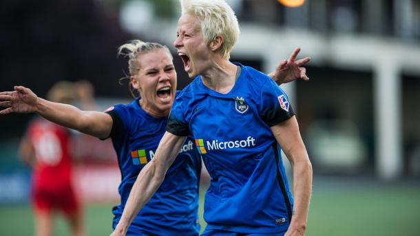 Megan Rapinoe (right) scored a brace in Seattle's last match | Source: NWSL Soccer