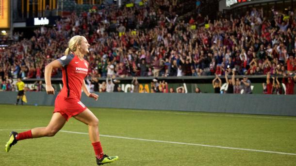 Lindsey Horan will be hoping to celebrate like this again tomorrow at Providence Park | Source: nwslsoccer.com