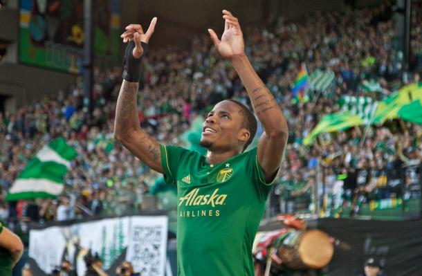 Powell celebra su gol // Imagen: Portland Timbers