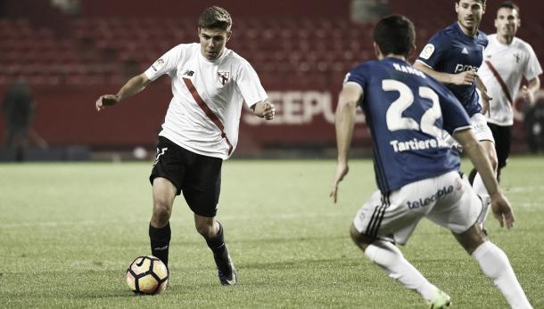 Alejandro Pozo, durante el partido ante el Oviedo. Foto: Sevilla FC