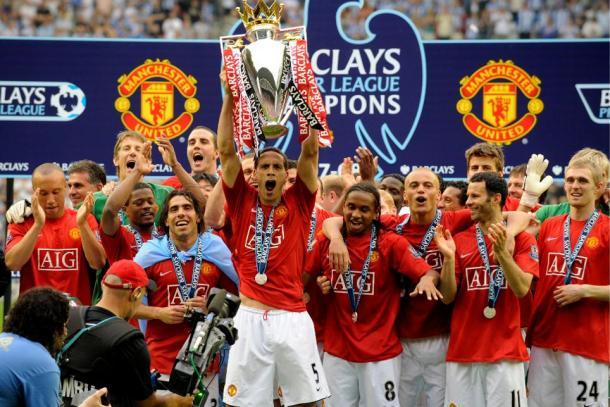 El Manchester United levanta el título liguero en 2008 | Fotografía: Premier League