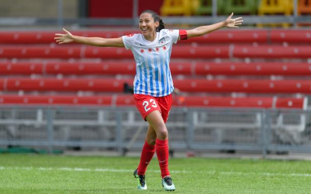 Christen Press celebrating a 2017 goal with the Red Stars l source: chicagoredstars.com