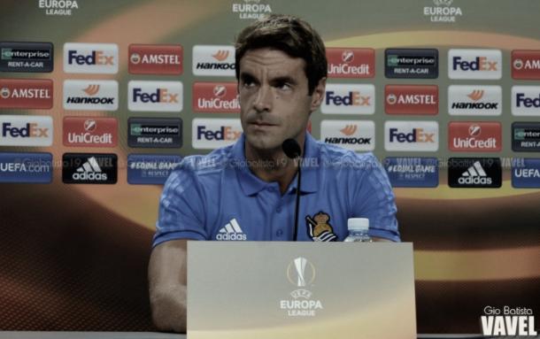 Xabi Prieto en Rueda de prensa de un partido de Europa League. Fuente: Giovanni Batista VAVEL