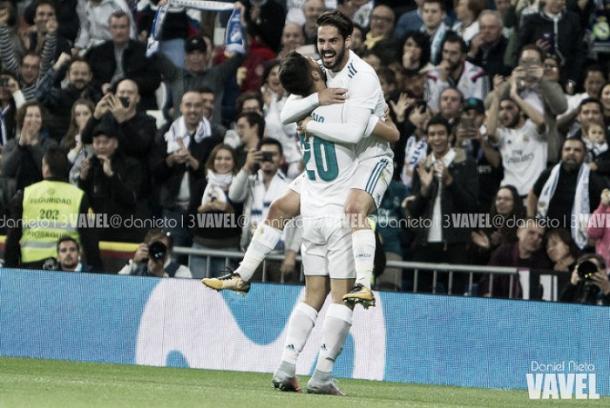 Marco Asensio e Isco celebran un gol en el Santiago Bernabéu | Foto: VAVEL