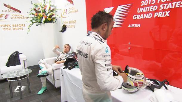 Hamilton y Rosberg, EEUU 2015. Foto: Youtube